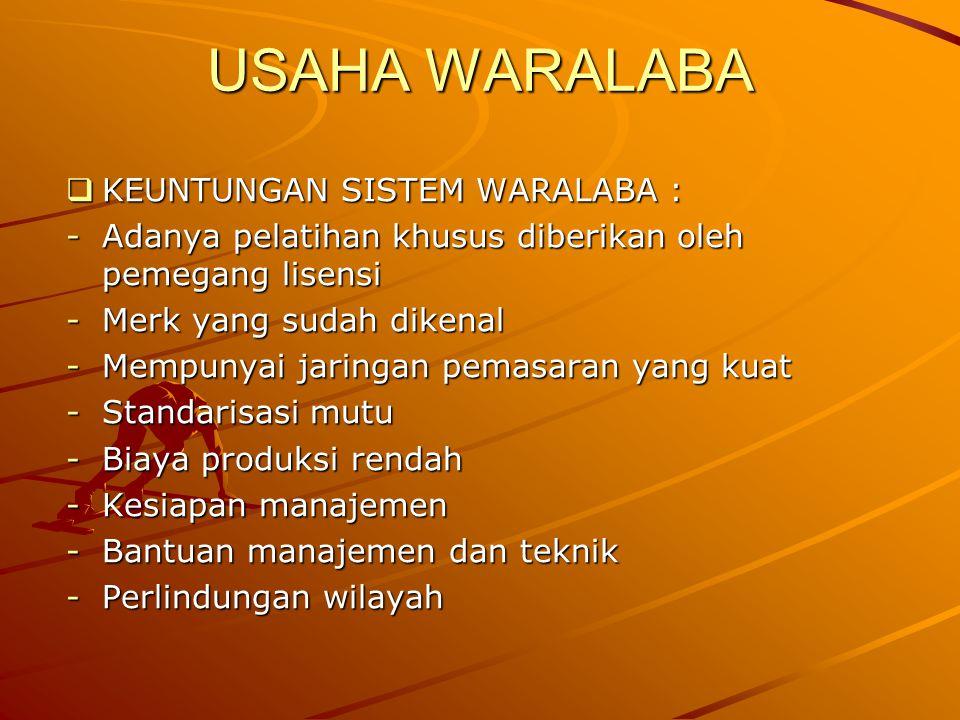 USAHA WARALABA KEUNTUNGAN SISTEM WARALABA :