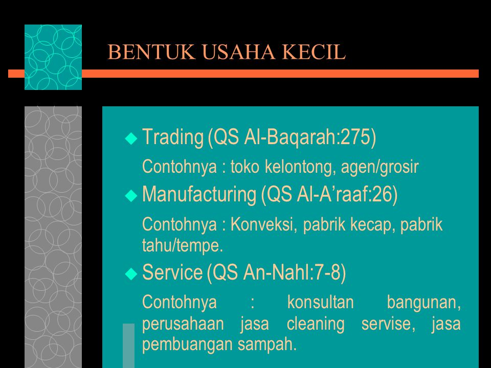 BENTUK USAHA KECIL Trading (QS Al-Baqarah:275) Contohnya : toko kelontong, agen/grosir. Manufacturing (QS Al-A'raaf:26)