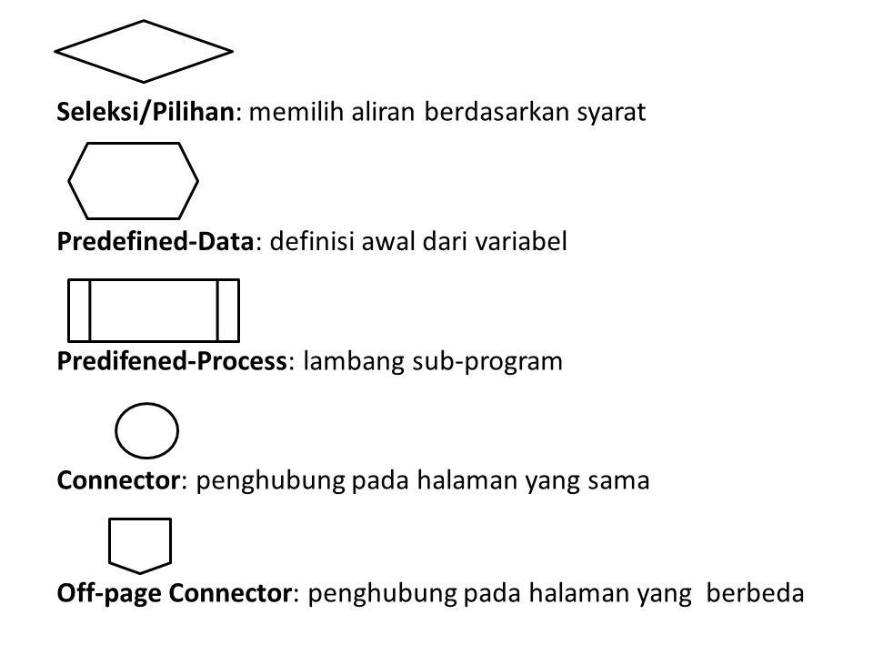 Seleksi/Pilihan: memilih aliran berdasarkan syarat