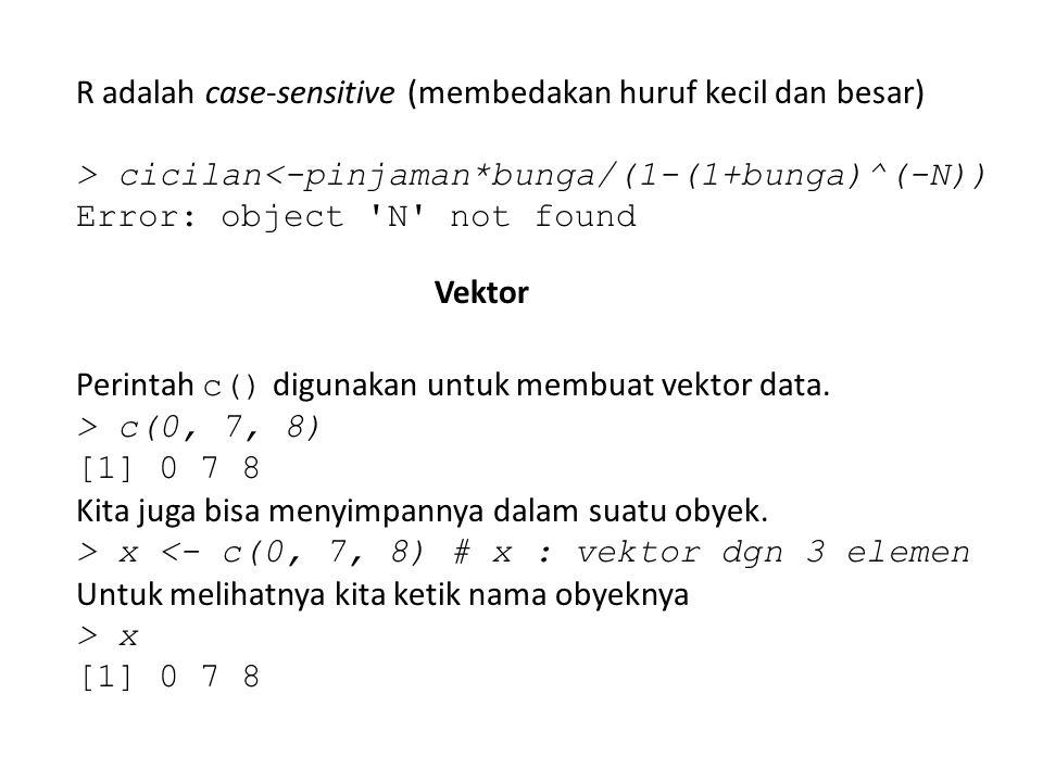 R adalah case-sensitive (membedakan huruf kecil dan besar)