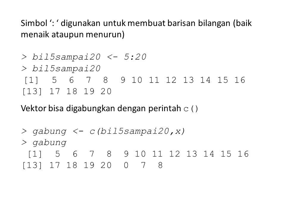 Simbol ': ' digunakan untuk membuat barisan bilangan (baik menaik ataupun menurun)