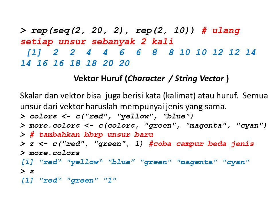 Vektor Huruf (Character / String Vector )