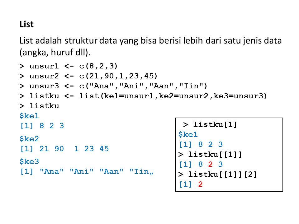 List List adalah struktur data yang bisa berisi lebih dari satu jenis data (angka, huruf dll). > unsur1 <- c(8,2,3)