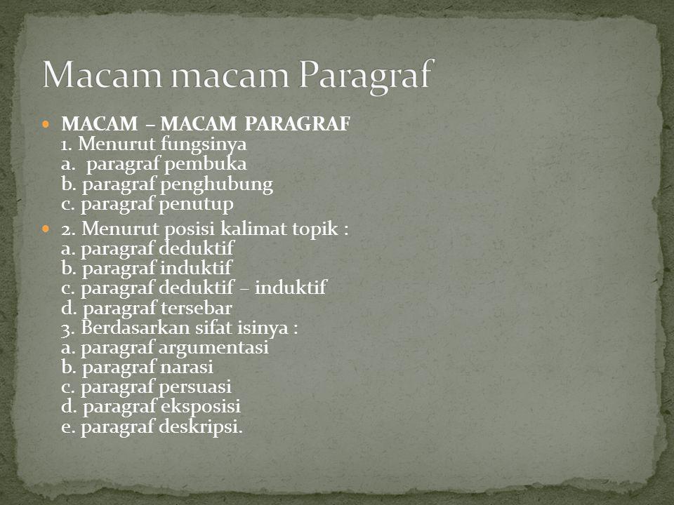 Macam macam Paragraf MACAM – MACAM PARAGRAF 1. Menurut fungsinya a. paragraf pembuka b. paragraf penghubung c. paragraf penutup.