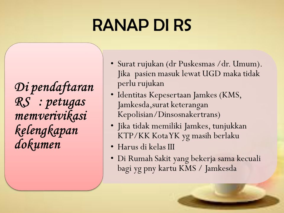 RANAP DI RS Di pendaftaran RS : petugas memverivikasi kelengkapan dokumen.
