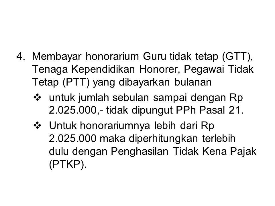 Membayar honorarium Guru tidak tetap (GTT), Tenaga Kependidikan Honorer, Pegawai Tidak Tetap (PTT) yang dibayarkan bulanan