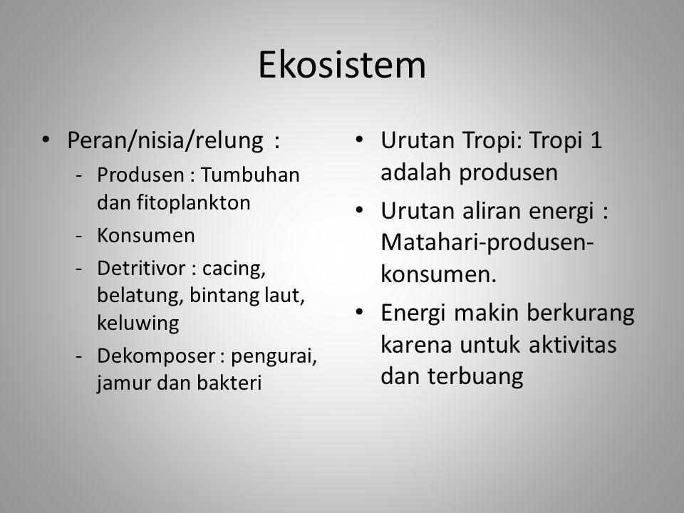 Ekosistem Peran/nisia/relung : Urutan Tropi: Tropi 1 adalah produsen