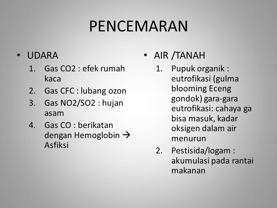 PENCEMARAN UDARA AIR /TANAH Gas CO2 : efek rumah kaca