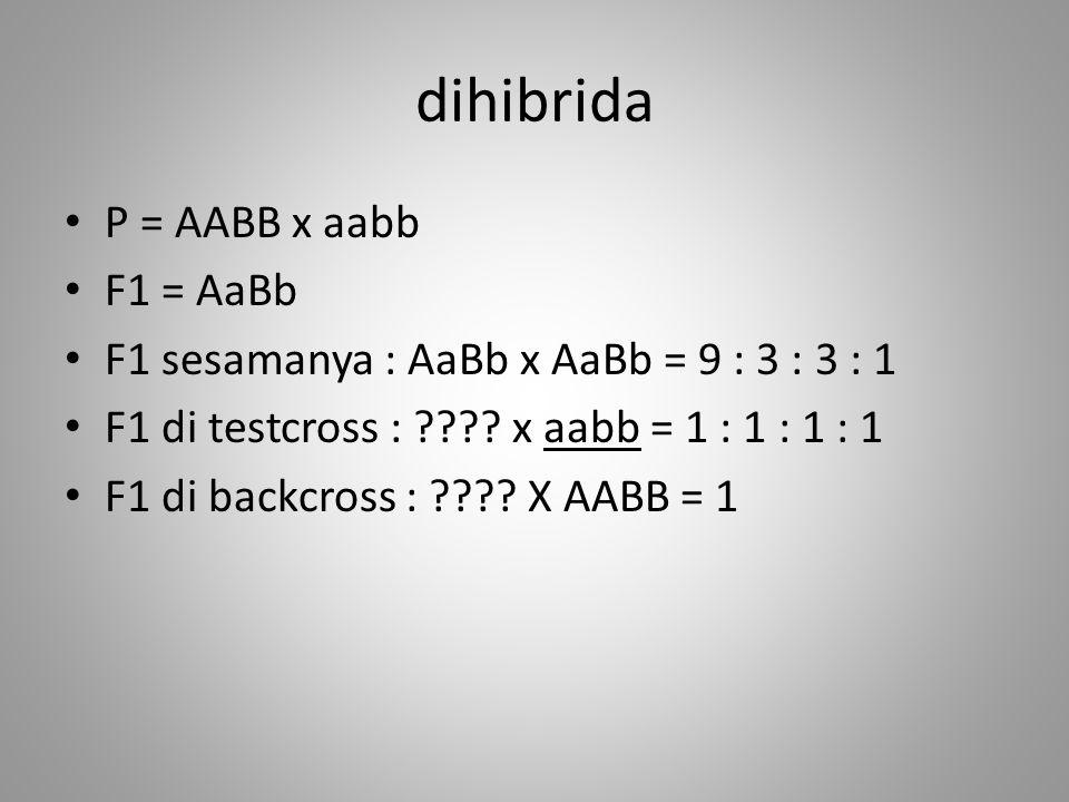 dihibrida P = AABB x aabb F1 = AaBb