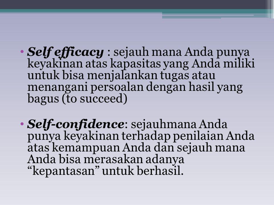 Self efficacy : sejauh mana Anda punya keyakinan atas kapasitas yang Anda miliki untuk bisa menjalankan tugas atau menangani persoalan dengan hasil yang bagus (to succeed)