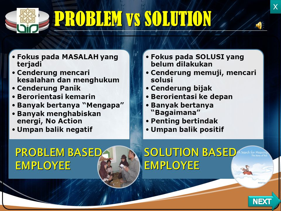 PROBLEM vs SOLUTION PROBLEM BASED EMPLOYEE SOLUTION BASED EMPLOYEE X