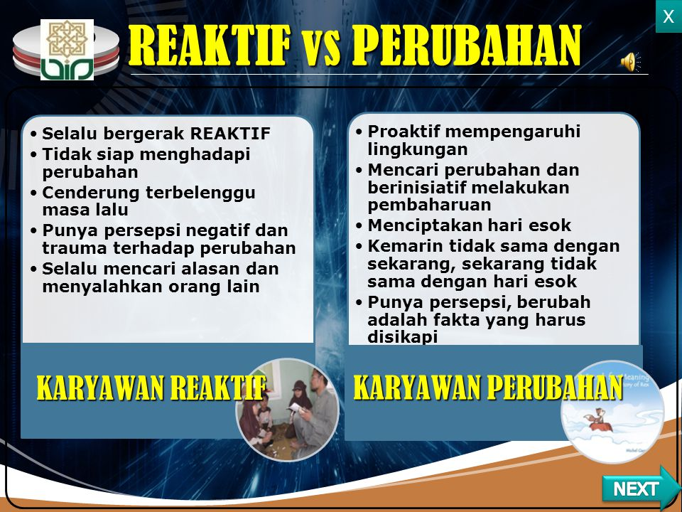 REAKTIF vs PERUBAHAN KARYAWAN REAKTIF KARYAWAN PERUBAHAN X NEXT