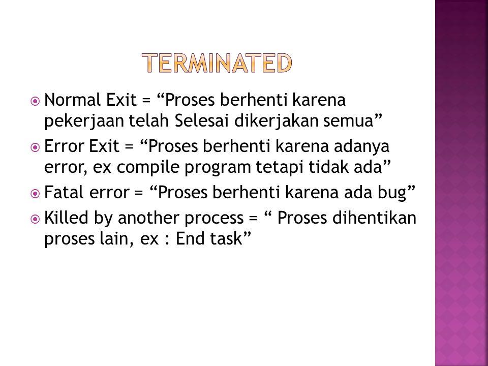 TERminated Normal Exit = Proses berhenti karena pekerjaan telah Selesai dikerjakan semua