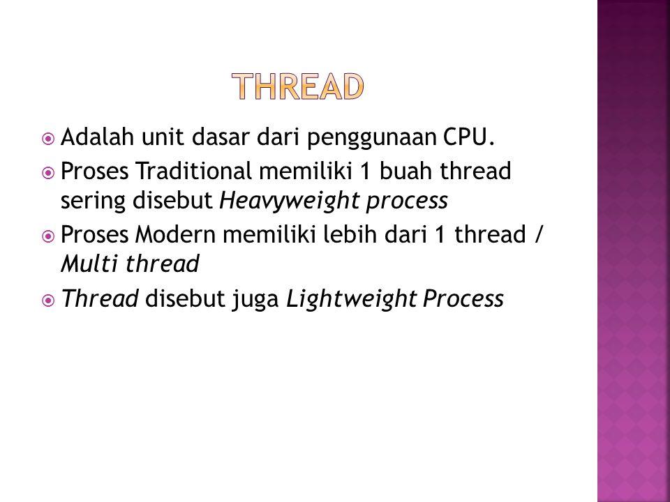 THread Adalah unit dasar dari penggunaan CPU.