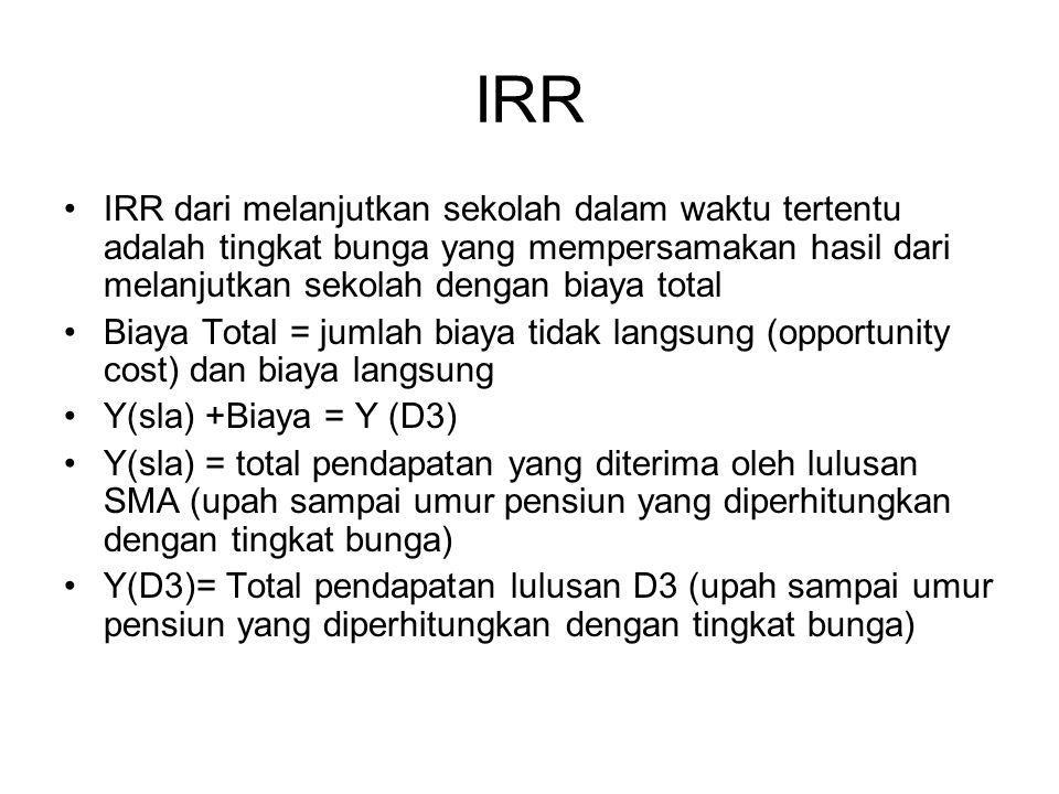 IRR IRR dari melanjutkan sekolah dalam waktu tertentu adalah tingkat bunga yang mempersamakan hasil dari melanjutkan sekolah dengan biaya total.