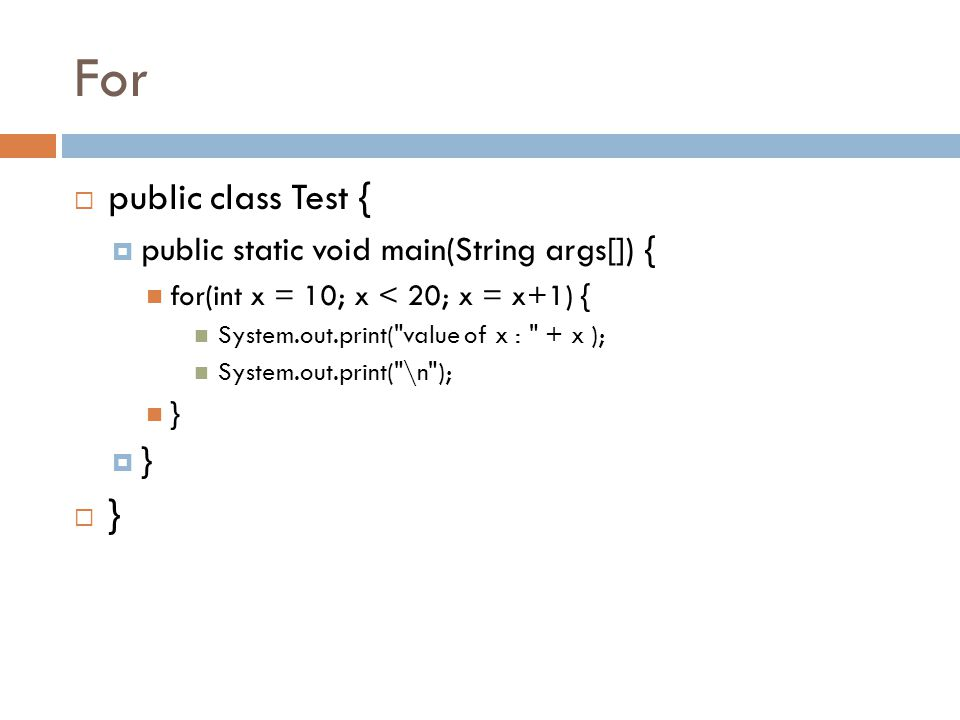 For public class Test { public static void main(String args[]) {