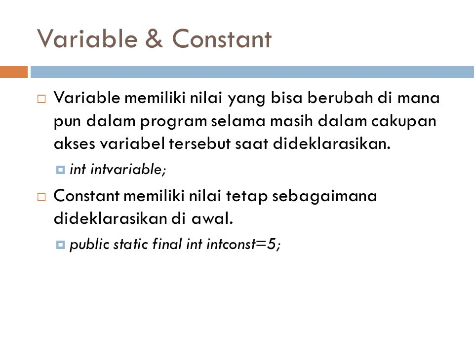 Variable & Constant