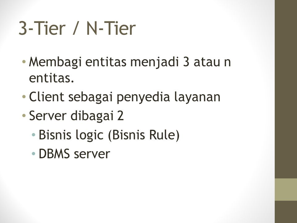 3-Tier / N-Tier Membagi entitas menjadi 3 atau n entitas.