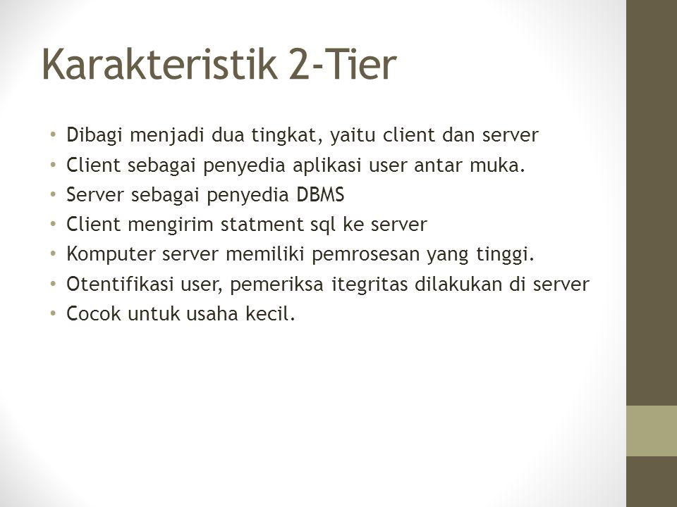 Karakteristik 2-Tier Dibagi menjadi dua tingkat, yaitu client dan server. Client sebagai penyedia aplikasi user antar muka.