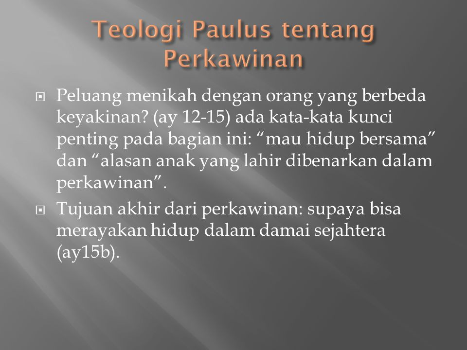 Teologi Paulus tentang Perkawinan
