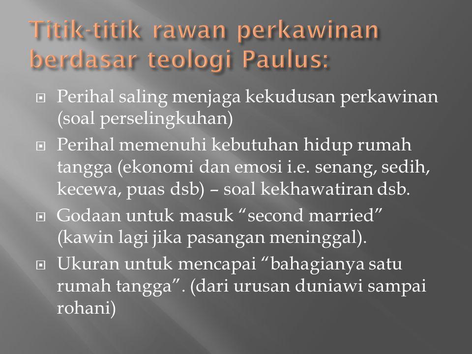 Titik-titik rawan perkawinan berdasar teologi Paulus: