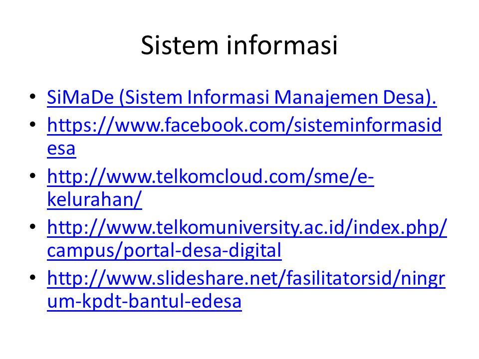 Sistem informasi SiMaDe (Sistem Informasi Manajemen Desa).
