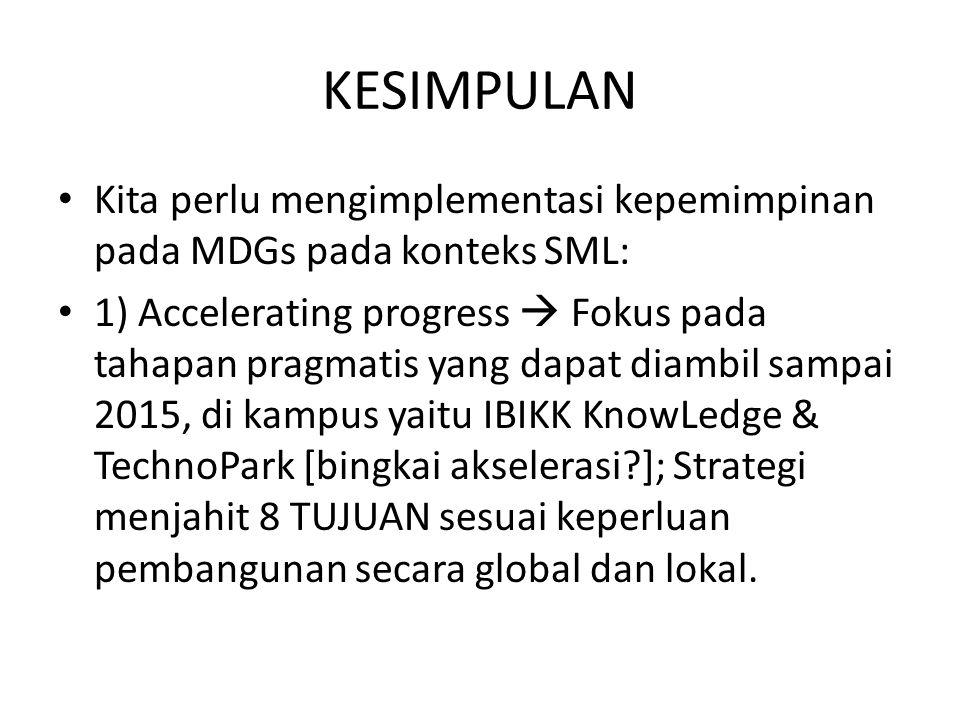 KESIMPULAN Kita perlu mengimplementasi kepemimpinan pada MDGs pada konteks SML: