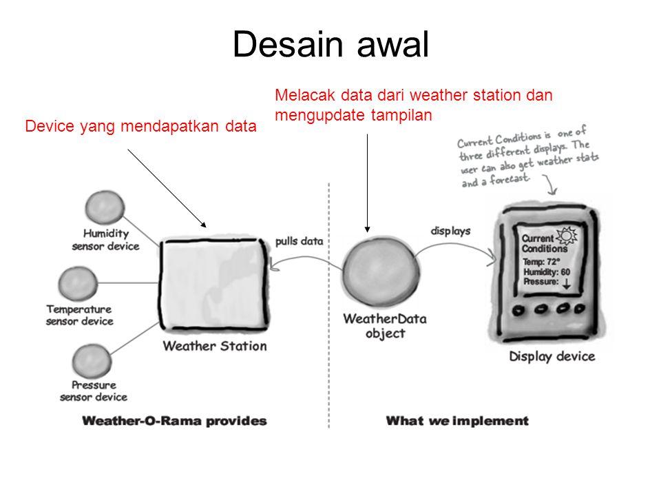Desain awal Melacak data dari weather station dan mengupdate tampilan