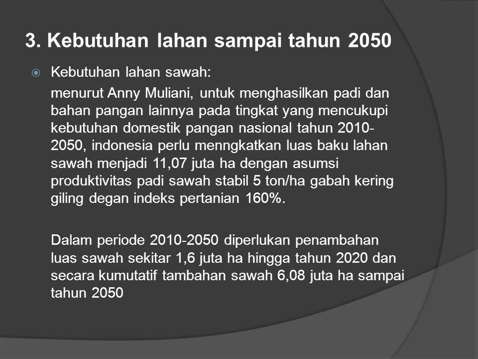 3. Kebutuhan lahan sampai tahun 2050