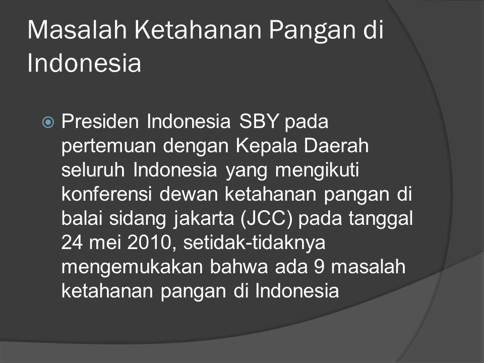 Masalah Ketahanan Pangan di Indonesia
