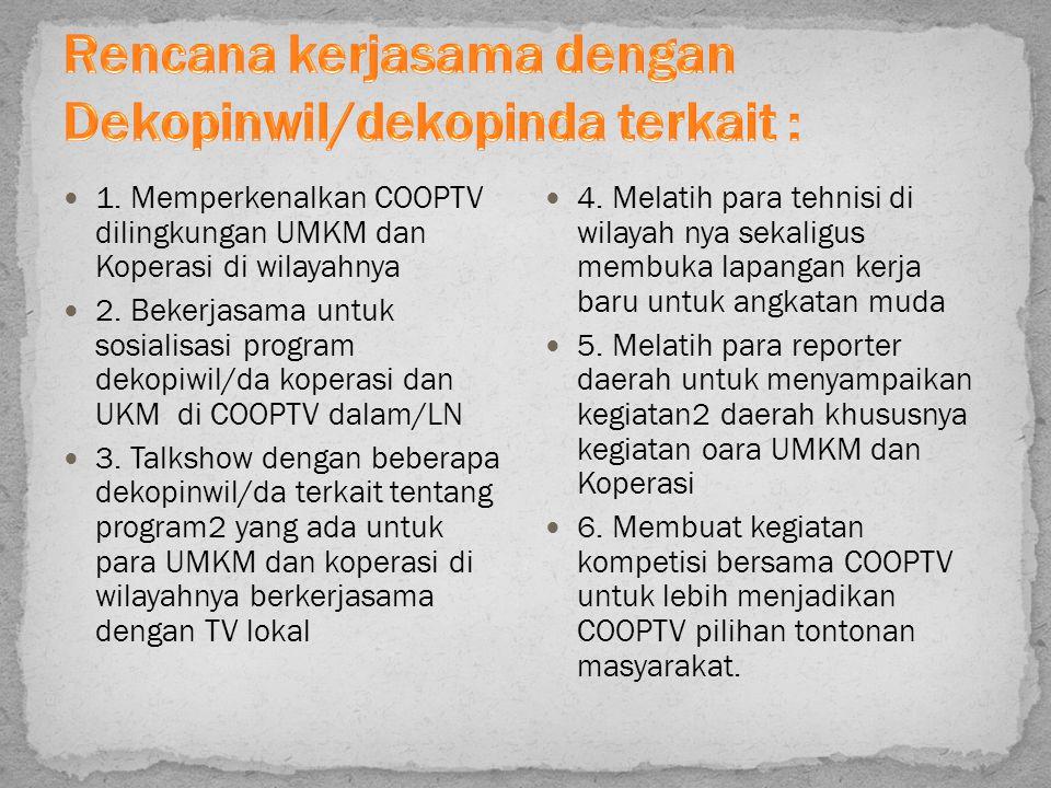 Rencana kerjasama dengan Dekopinwil/dekopinda terkait :