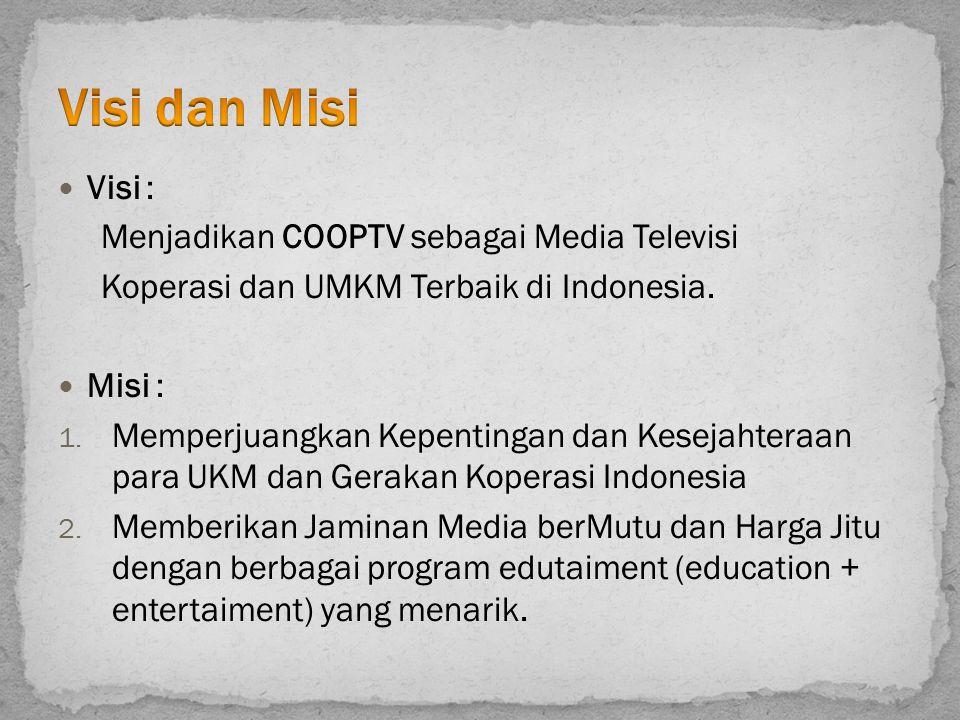 Visi dan Misi Visi : Menjadikan COOPTV sebagai Media Televisi