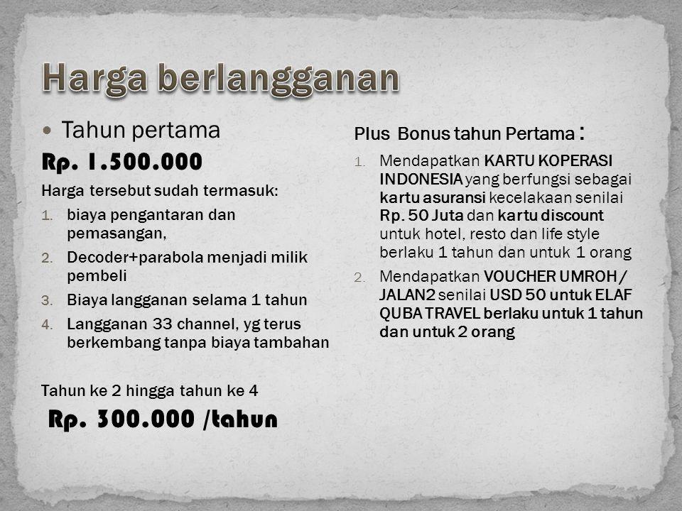 Harga berlangganan Rp. 300.000 /tahun Tahun pertama Rp. 1.500.000