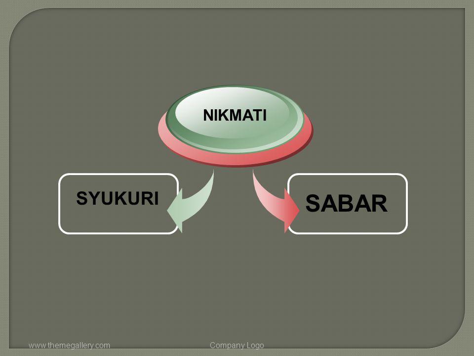 NIKMATI SYUKURI SABAR www.themegallery.com Company Logo