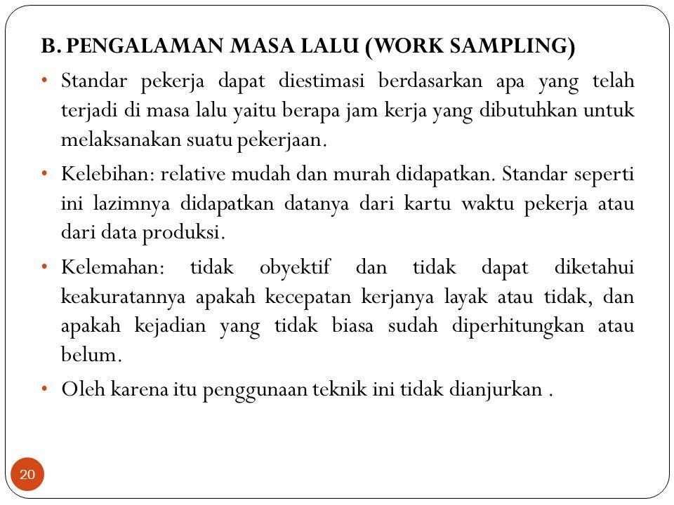 B. PENGALAMAN MASA LALU (WORK SAMPLING)