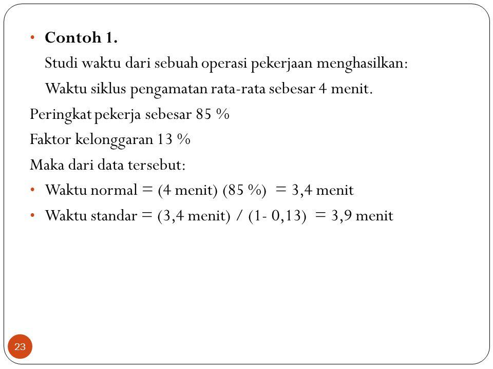 Contoh 1. Studi waktu dari sebuah operasi pekerjaan menghasilkan: Waktu siklus pengamatan rata-rata sebesar 4 menit.