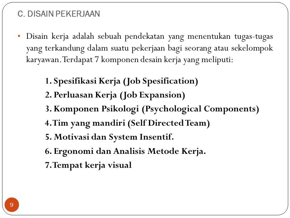 1. Spesifikasi Kerja (Job Spesification)