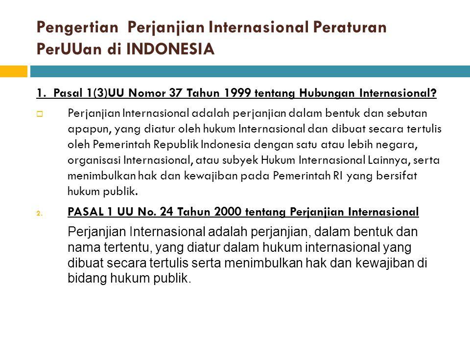 Pengertian Perjanjian Internasional Peraturan PerUUan di INDONESIA
