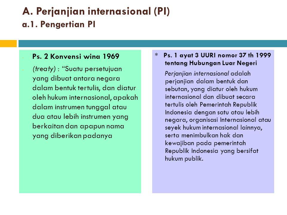 A. Perjanjian internasional (PI) a.1. Pengertian PI