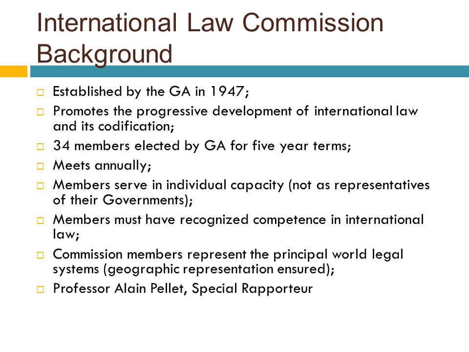 International Law Commission Background