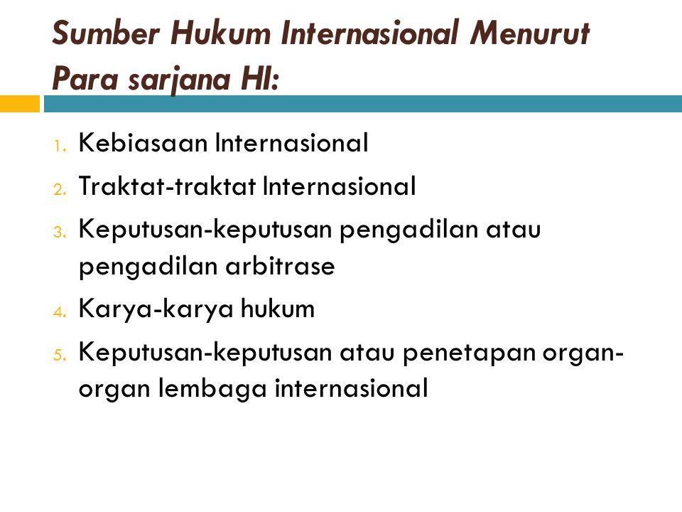 Sumber Hukum Internasional Menurut Para sarjana HI: