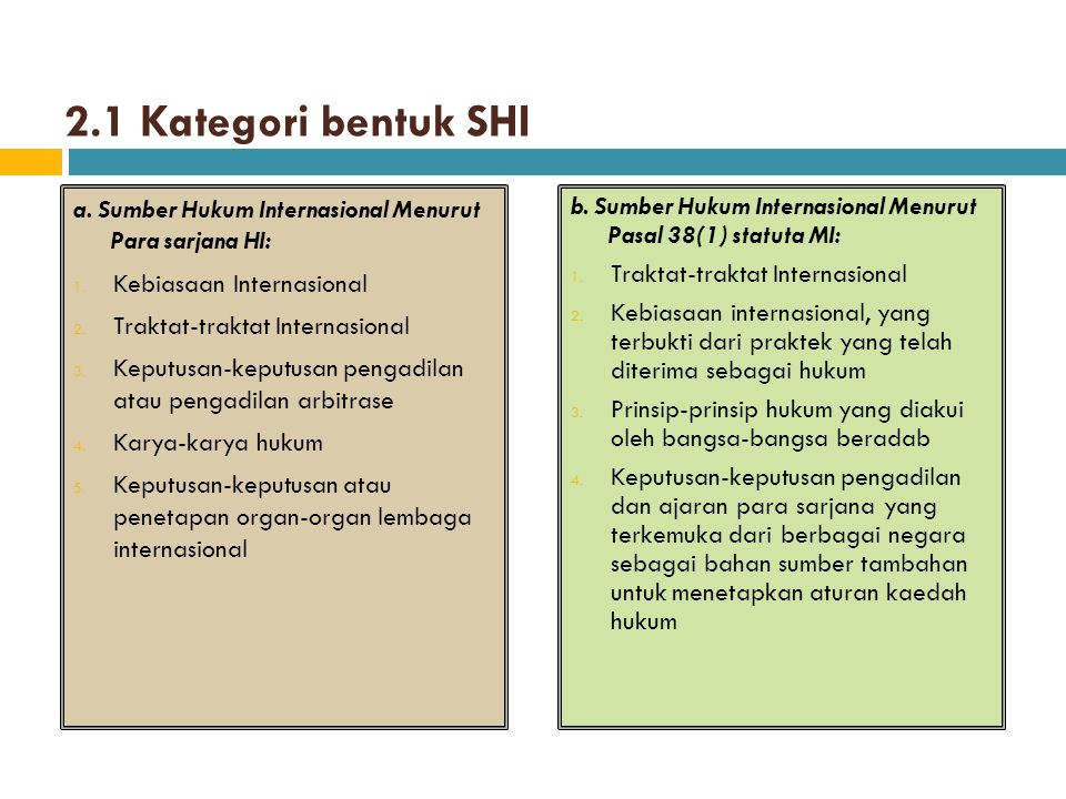 2.1 Kategori bentuk SHI a. Sumber Hukum Internasional Menurut Para sarjana HI: Kebiasaan Internasional.