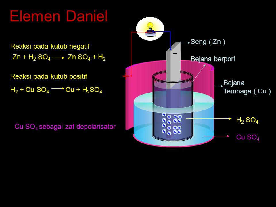 Elemen Daniel Seng ( Zn ) Reaksi pada kutub negatif