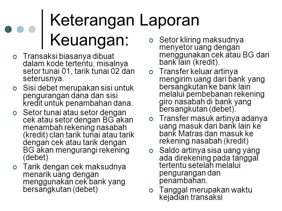 Keterangan Laporan Keuangan: