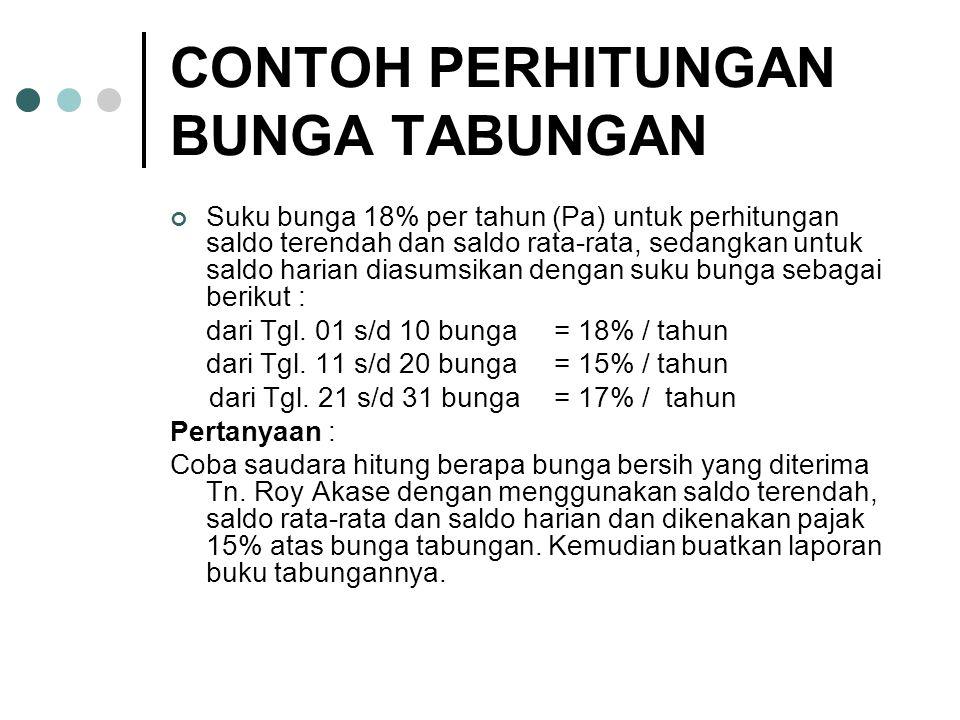 CONTOH PERHITUNGAN BUNGA TABUNGAN