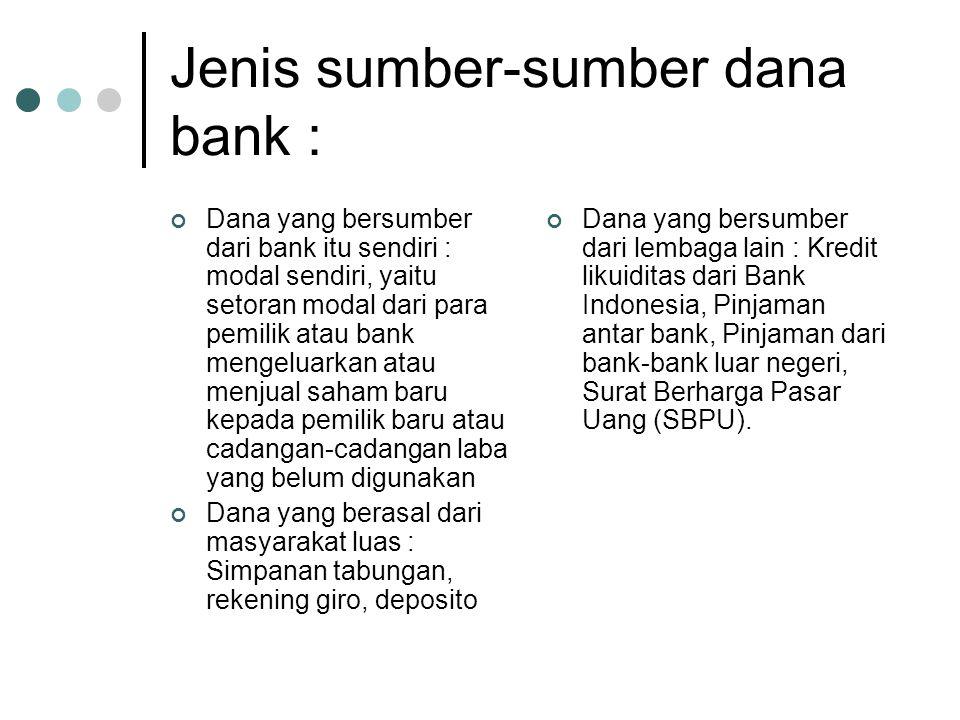 Jenis sumber-sumber dana bank :