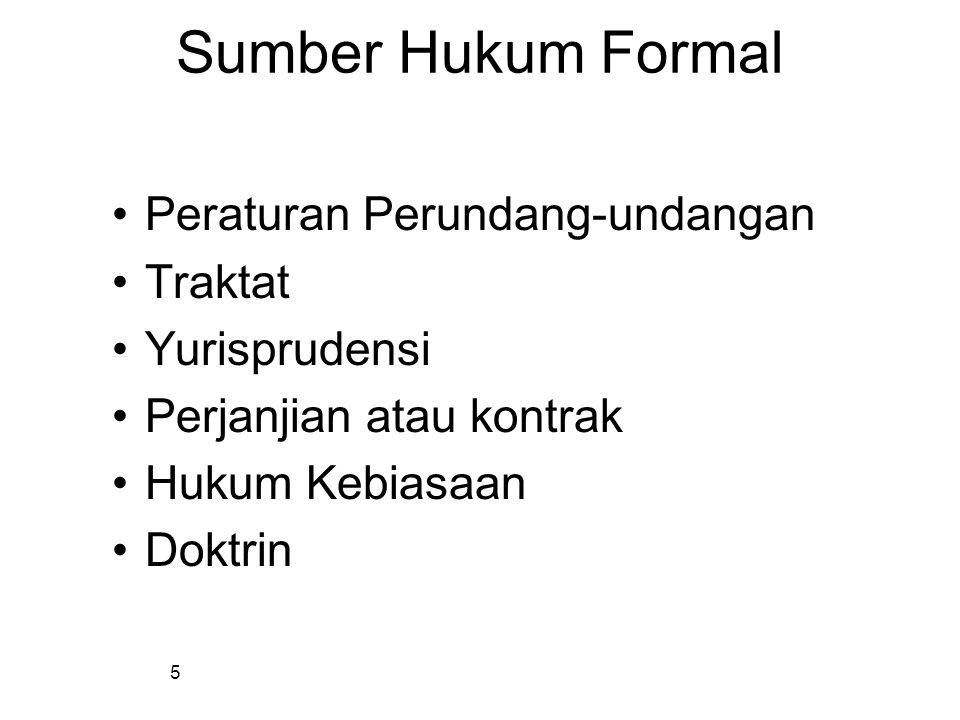 Sumber Hukum Formal Peraturan Perundang-undangan Traktat Yurisprudensi