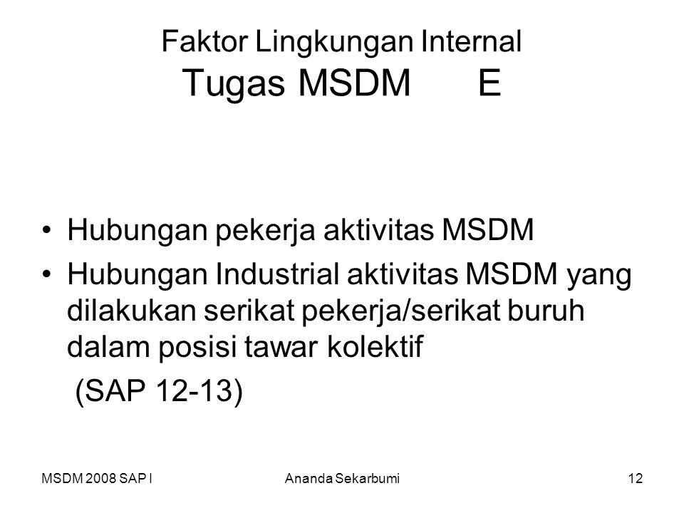 Faktor Lingkungan Internal Tugas MSDM E