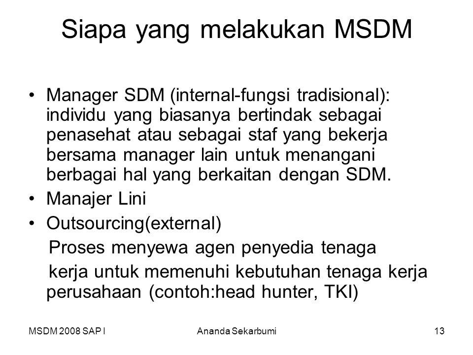 Siapa yang melakukan MSDM