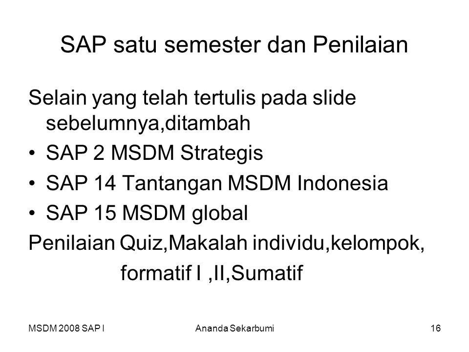 SAP satu semester dan Penilaian